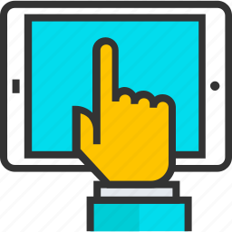 finger, hand, index, pointing, screen, tablet, touch icon
