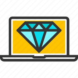 clean, code, coding, crystal, development, diamond, laptop icon