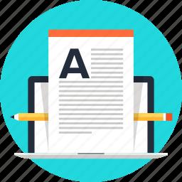 article, blog, communication, computer, laptop, web, write icon