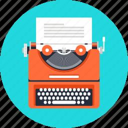 article, author, copywriting, document, script, text, typewriter icon