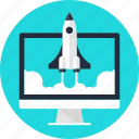 computer, launch, rocket, space, spaceship, start, startup icon