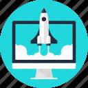 computer, launch, rocket, space, spaceship, start, startup