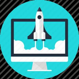 computer, launch, rocket, space, spaceship, start, startup icon