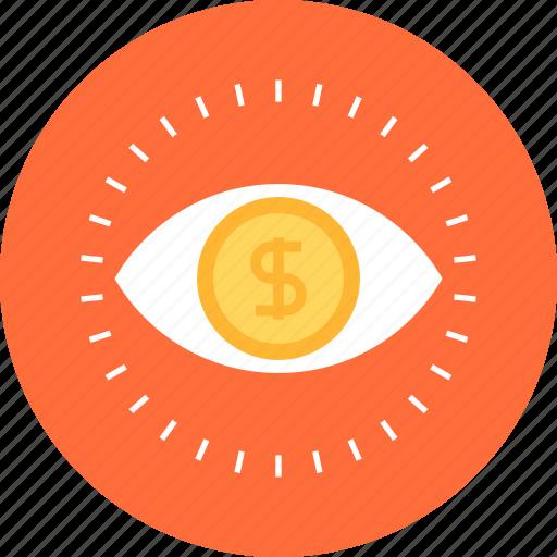 conversion, eye, marketing, money, research, seo, vision icon