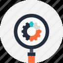 cogwheel, magnifier, optimization, search, seo, explore, view