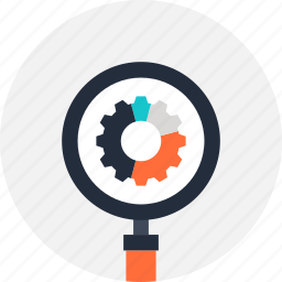 cogwheel, explore, magnifier, optimization, search, seo, view icon