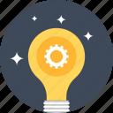 bulb, cogwheel, development, idea, lamp, light, concept