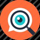 eye, glass, magnifier, optimization, search, seo, explore