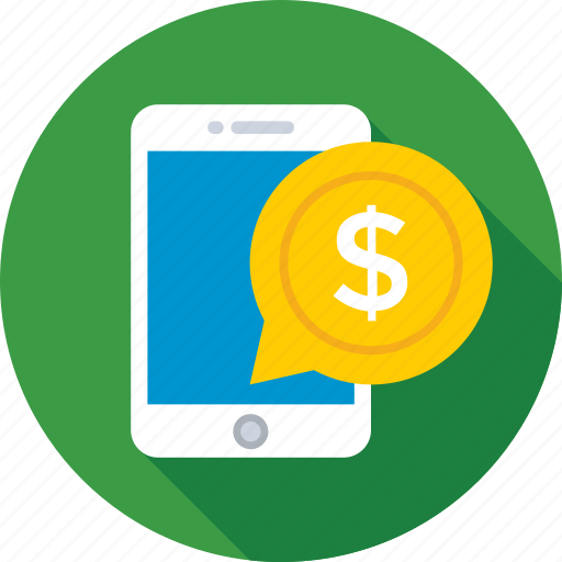 banking, chat bubble, dollar, mobile, sms banking icon