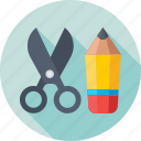 drafting, pencil, scissor, stationery, trim icon