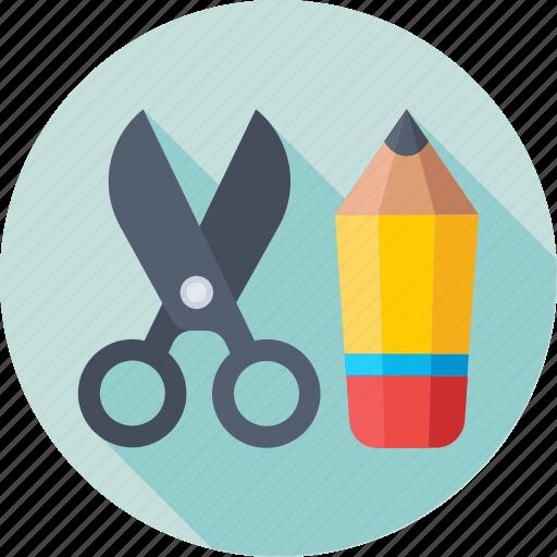 drafting, pencil, scissor, stationery, trim icon