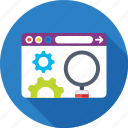 cog, magnifier, programming, web development, website icon