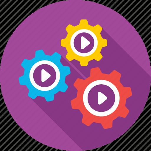 cogs, movie, sem, video, video marketing icon