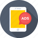 ads, advertising, marketing, mobile, publicity icon