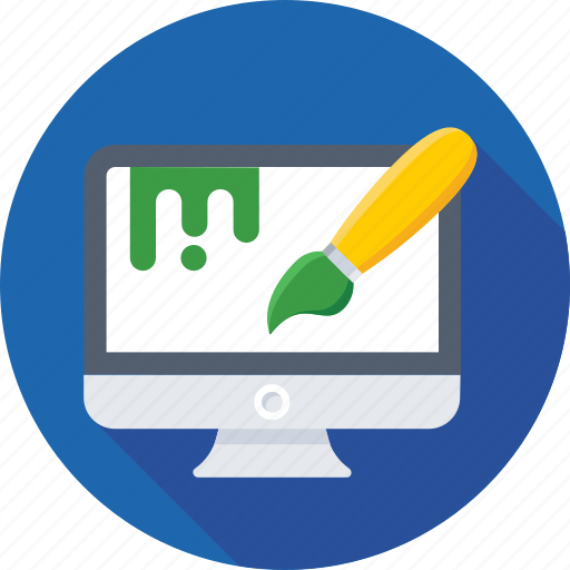 brush, graphic, monitor, paint, web designing icon