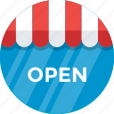 open, shop sign, signboard, store sign, we are open icon