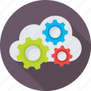 cloud computing, cloud setting, cogs, icloud, networking icon