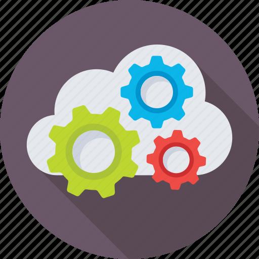 cloud computing, cloud setting, cogs, icloud, networking icon