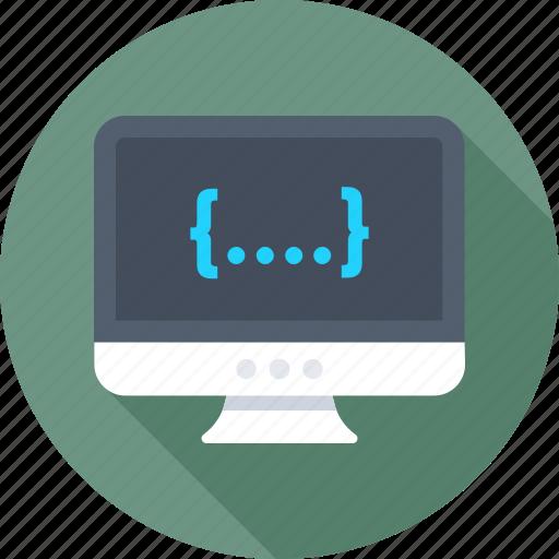 coding, development, led, monitor, programming icon