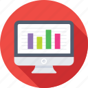analytics, bar chart, infographic, monitor, online graph icon