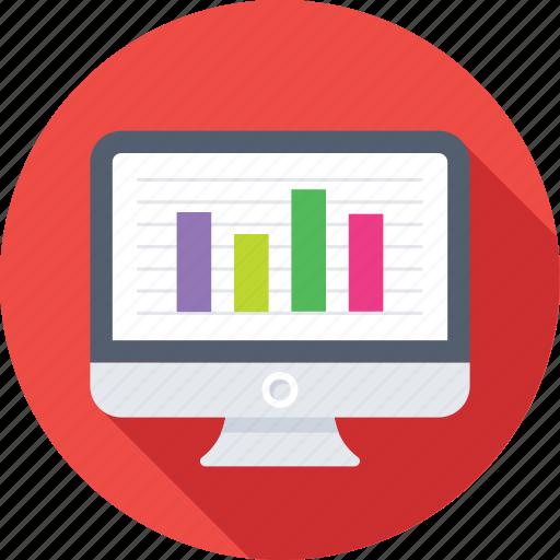 analytics, bar chart, infographic, monitor, online graph icon