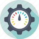cog, optimization, performance, seo, speedometer icon