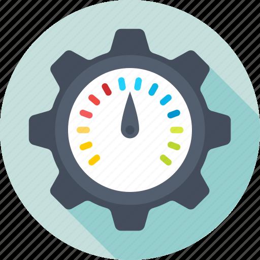 cog, optimization, performance, seo, speedometer icon