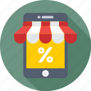 discount, ecommerce, mobile, mobile shop, shopping icon