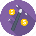 currency, dollar, exchange, magic stick, transaction icon
