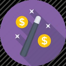 currency, dollar, exchange, magic stick, transaction icon