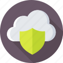 cloud, cloud computing, cloud security, shield, storage icon