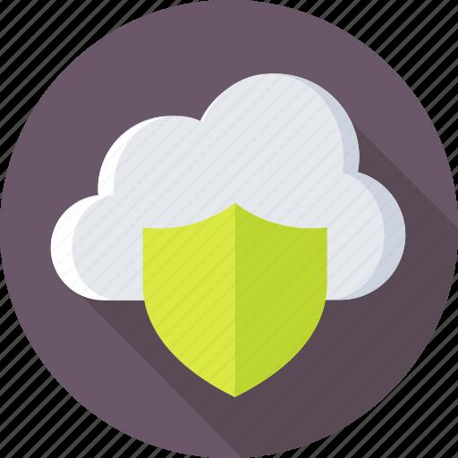 cloud, cloud computing, cloud security, shield, storage icon