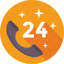 customer service, helpline, hotline, receiver, twenty four hours icon