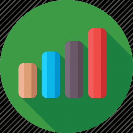 ascending, bar chart, bar graph, growth, progress icon