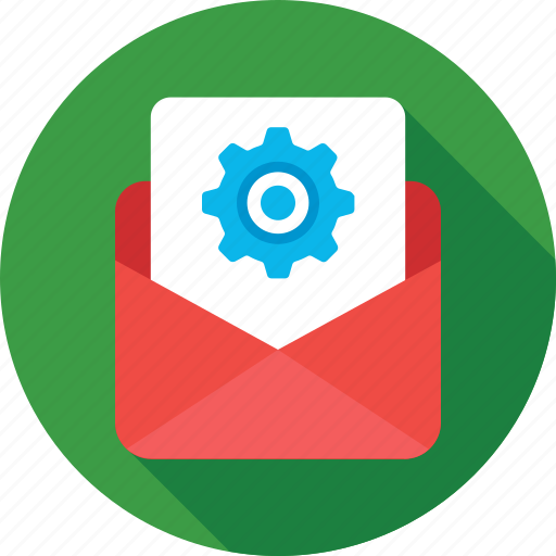 cog, email, email settings, email setup, message icon