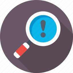 error, exclamation, magnifier, search, search engine icon