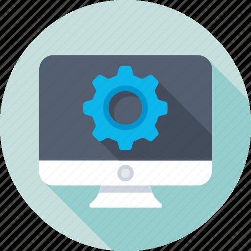 cog, development, monitor, monitor settings, preferences icon