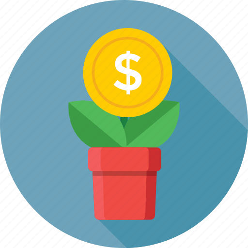 dollar, growth, income, investment, money plant icon