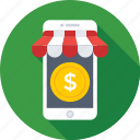 dollar, eshop, mobile, mobile shop, shopping icon