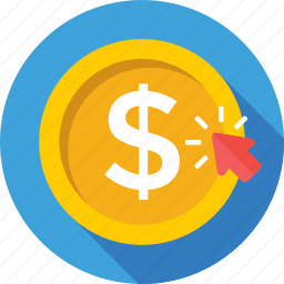 click, dollar, online business, pay per click, ppc icon