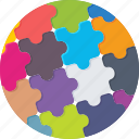 jigsaw, puzzle, solution, strategy, together icon