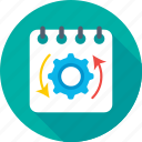 cog, gear, planning, processing, schedule icon
