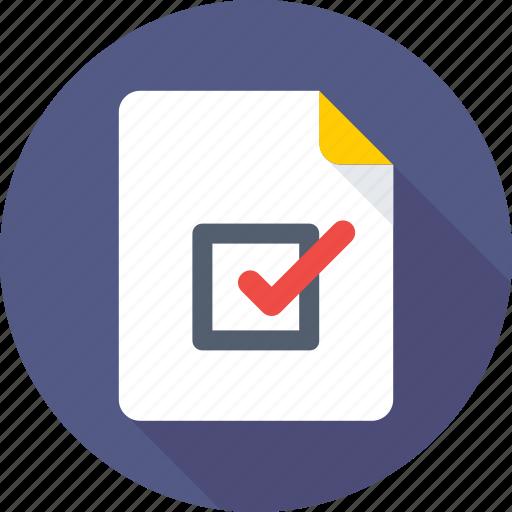 checklist, document, done, task complete, tick icon