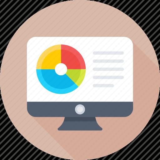 analytics, monitor, online graph, pie chart, statistics icon