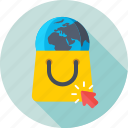 ecommerce, eshop, global, globe, shopping bag icon