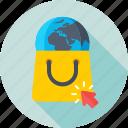 globe, global, eshop, ecommerce, shopping bag