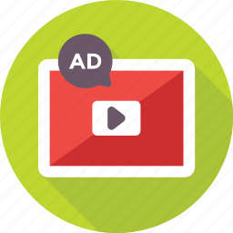 ads, advertising, marketing, publicity, video icon