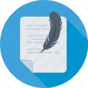 feather, compose, document, letter, writing