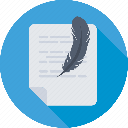 compose, document, feather, letter, writing icon