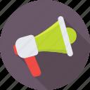 loud hailer, announcement, megaphone, bullhorn, loudspeaker